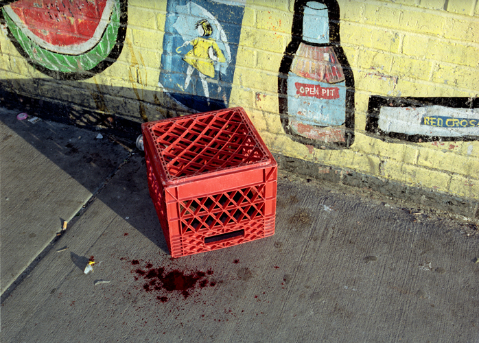 Blood stain on sidewalk from head injury to intoxicated man after scuffle with police lieutenant, Chicago, Illinois, 2000