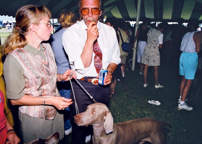 Couple with Weimaraner, Porter County Fairgrounds, Valparaiso, Indiana, 1998